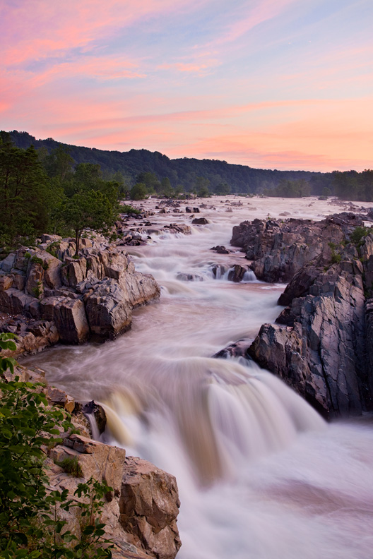 Peaceful, Pink Summer Sunrise from Great Falls Overlook #1, Great Falls National Park, Virginia, United States.