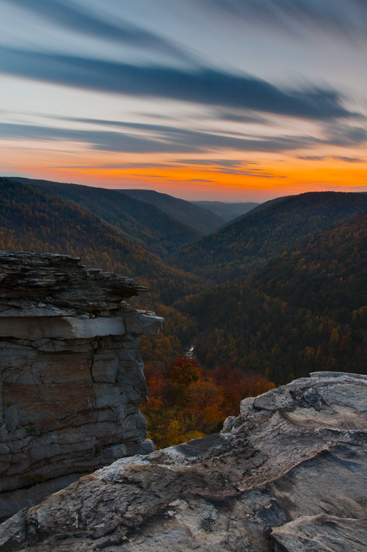 Lindy Point Overlook at Sunset, Blackwater Falls State Park, West Virginia, United States.