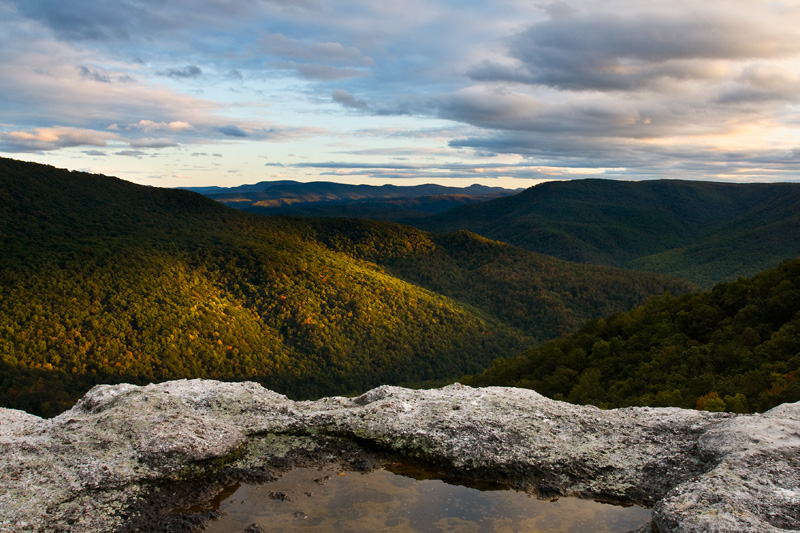 Table Rock Overlook Sunset, Monongahea National Forest, West Virginia, United States.