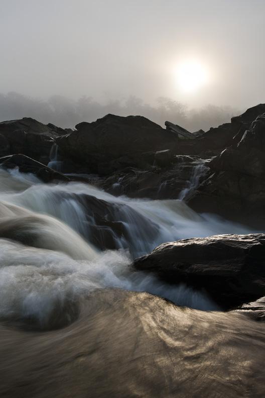 Bright Foggy Sunrise, Great Falls National Park, Virginia, Maryland, United States.