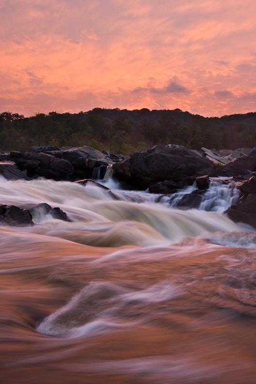 Red Sunrise, Great Falls National Park, Virginia, Maryland, United States.