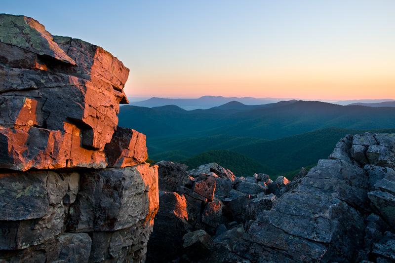 Sunrise Light on Rocks at Blackrock Summit, Shenandoah National Park, Virginia, United States.