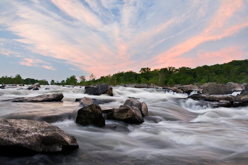 Great Falls National Park Sunset, Virginia, United States.