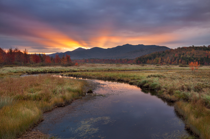 """Weary Eyes, Opened Wide"" - Sunrise over a marsh overlooking the High Peaks. Adirondack Park, New York."