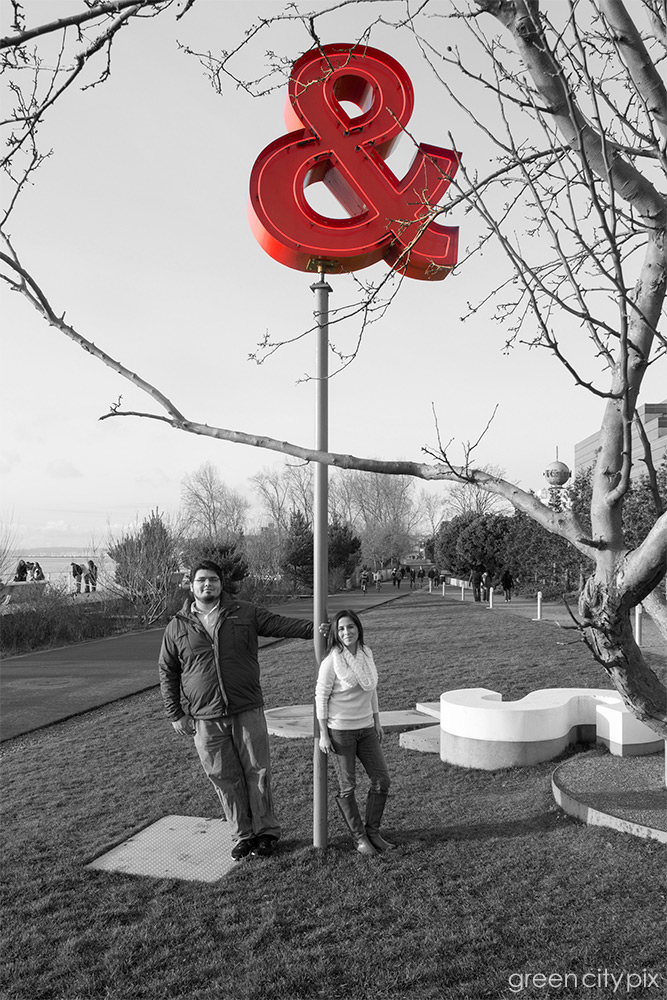 """Me & You. Some people look at this ampersand sculpture and think, """"Is this art?"""" As simple as it is, it's a great piece for a couple's photo. This couple is originally from Mexico, and wanted some photos to mark their first wedding anniversary as well as their first year in Seattle."""