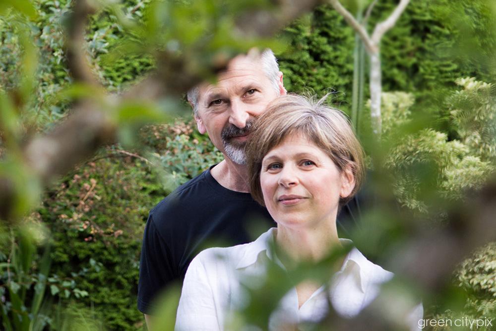All photos were taken around their West Seattle home, where they keep a lush garden.