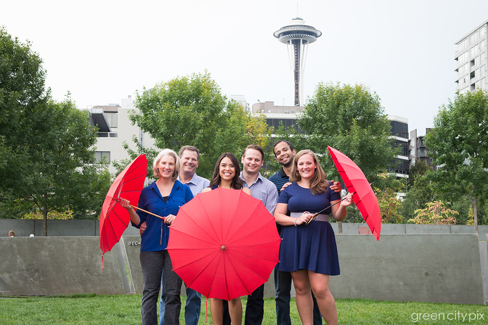 It wasn't raining, but we just had to open these cute umbrellas for this very Seattle photo.