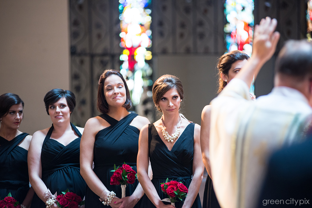 The Eyes have It:    This isn't the most flattering photo of these beautiful bridesmaids, but I love the honesty and humor of this shot. Check out all the different pairs of eyes.