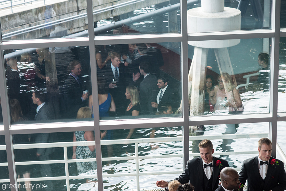 Party on the Water: The windows provided clean reflections of the reception.