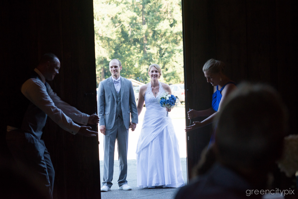 The bride and groom about to make their grand entrance.