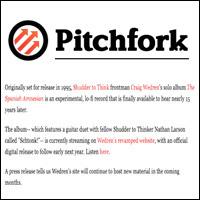 """""""Lost"""" Album from Shudder to Think's Craig Wedren Now Streaming,  Pitchfork , Dec 1, 2009"""