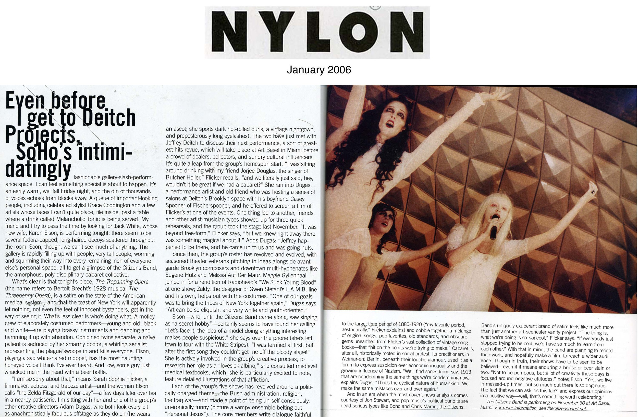 Show and Tell, Nylon Magazine , Jan 2006