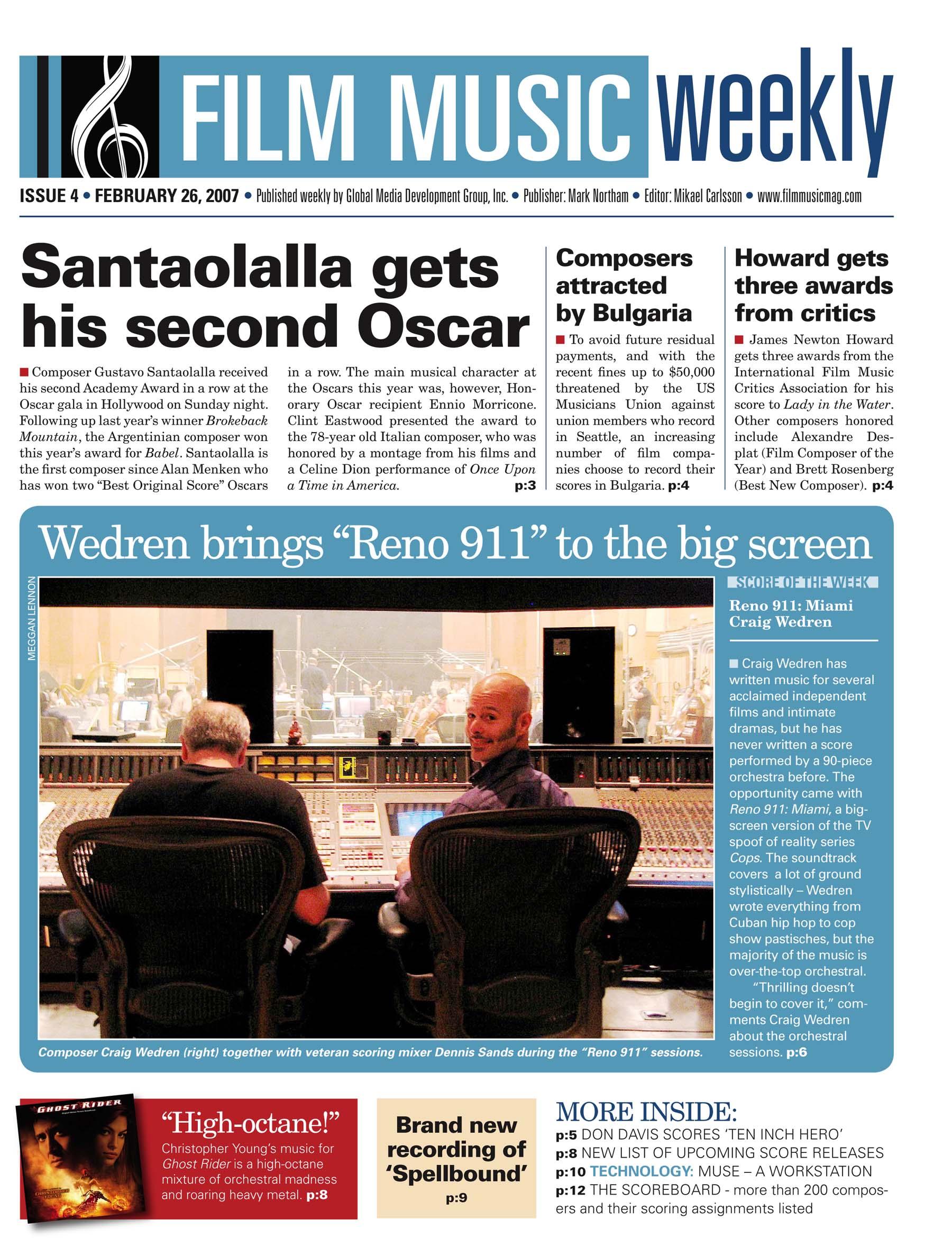 "Wedren brings ""Reno 911"" to the big screen, Film Music Weekly , Feb 26, 2007"