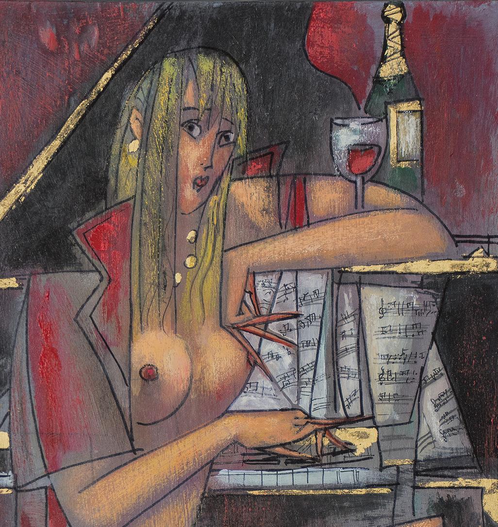 On the Note of Wine 12.825 x 7.825 Oil on Wood.jpg