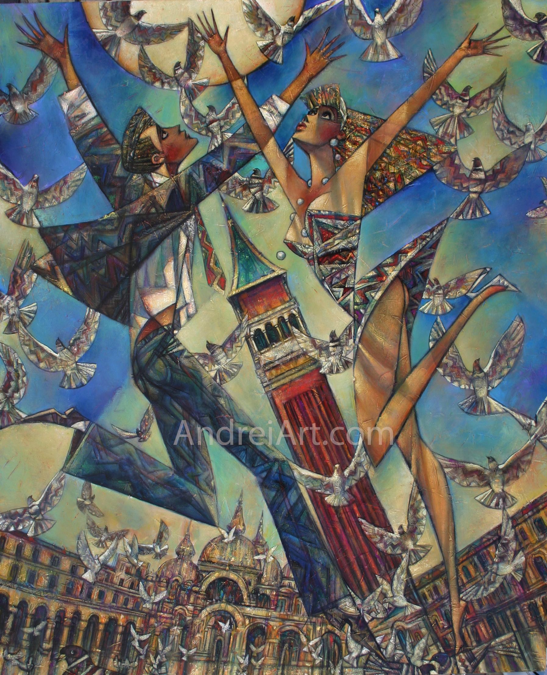 """""""Love Birds"""" Oil on Canvas 54"""" x 44"""""""