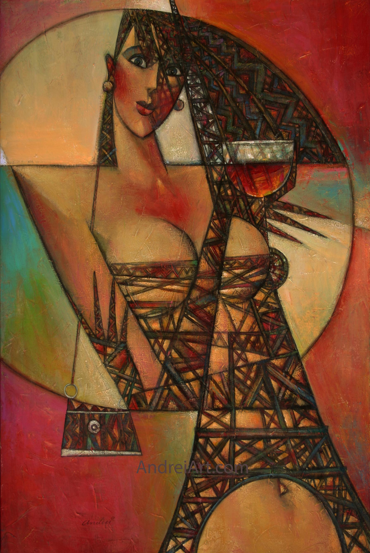 """""""Rouge de la Eiffel"""" Oil on Canvas 36"""" x 24"""""""