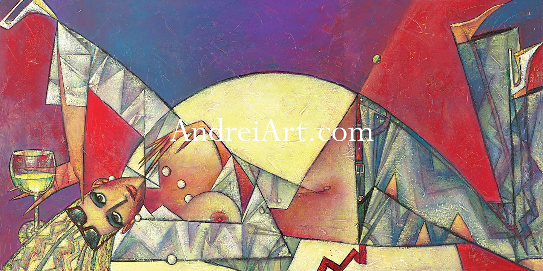 """""""Sunset Wine"""" Oil on Canvas 24"""" x 48"""""""