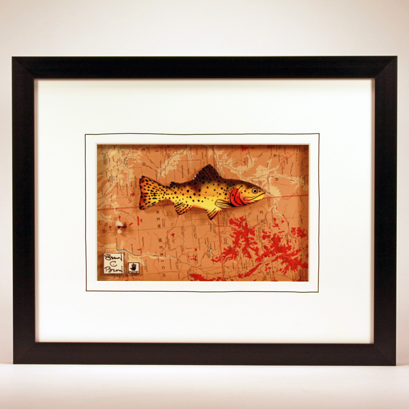 """Rio Grande Cutthroat Trout"" 14 x 11 ceramic, hand-tied flies, vintage map $299"