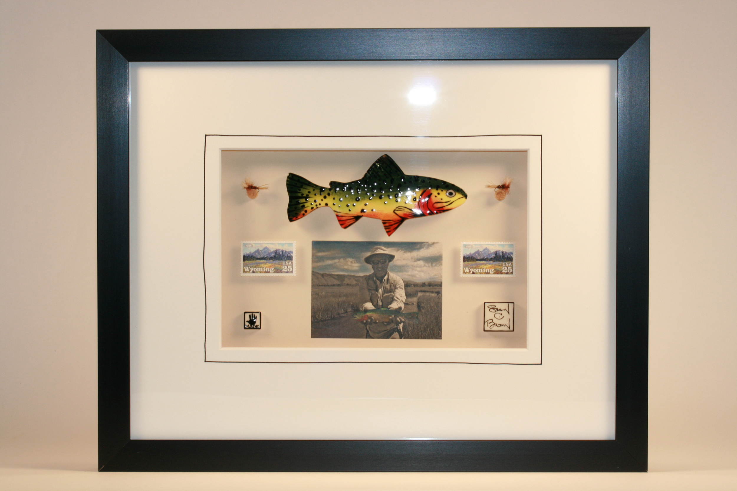 """Trophy Wyoming Cutthroat Trout"" ceramic, hand-tied flies, vintage postage stamps and hand-colored photo $359 sold"