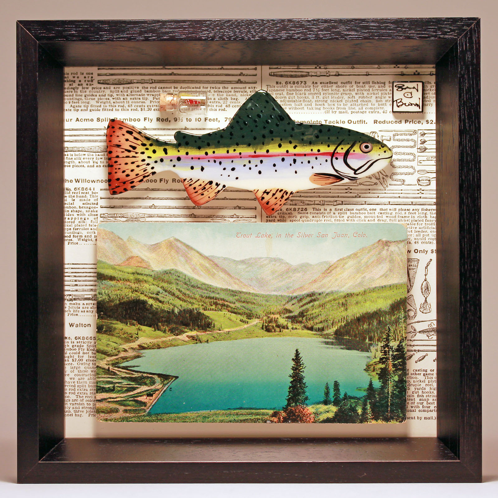 """San Juan Rainbow Trout"" 8 x 8 Vintage book page, postcard and fly"