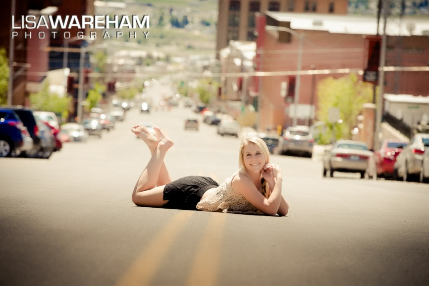 Laying in the street....we had to run away, come back, runaway, come back to get these seriously fun senior portraits!