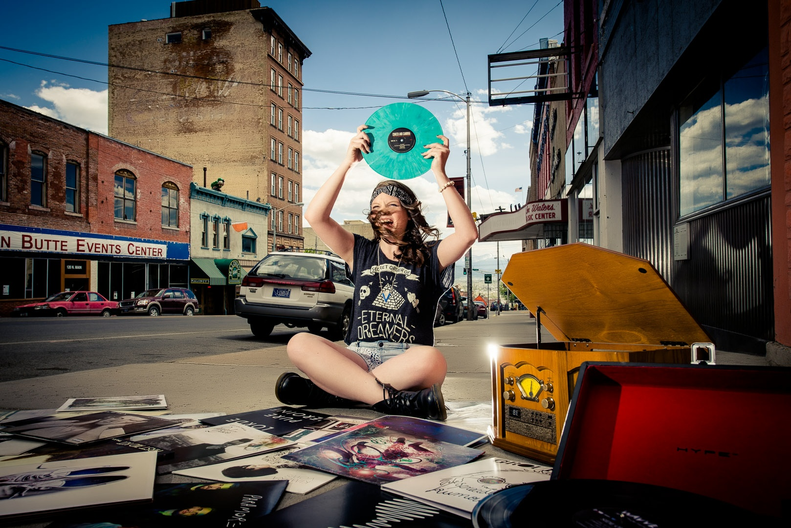 How does this have ANYTHING to do with a daredevil you say? Well come on! It takes some serious GUTS to play a record as loud as possible right on Main Street in the heart of Uptown Butte during the busy part of the day! Props to Miranda...Seriously!