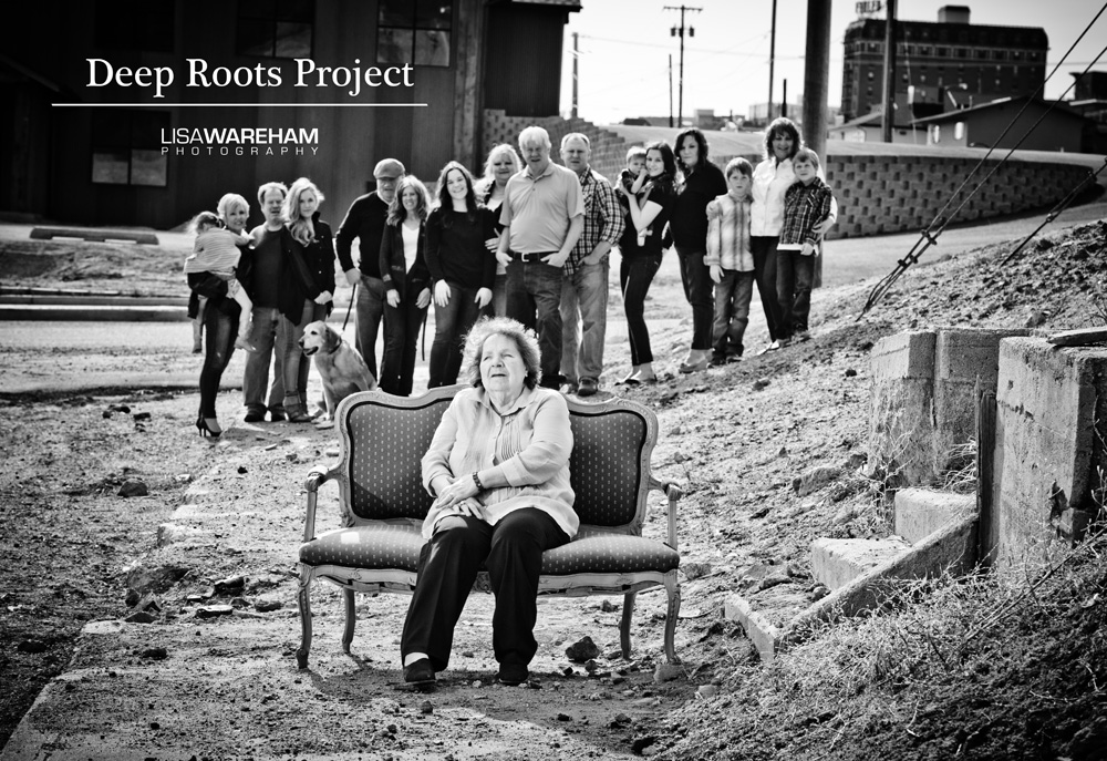"""The photo above is a sample of what has already been created, with """"Toots"""" Vucurovich seated next to her old neighbor's front steps at camera right (the home is now demolished) and in front of where her old family home used to exist (where the new brewery is now). You do NOT need a huge extended family, it can just be yourself, or your parent/grandparent, or maybe you have a 5th generation great granddaughter that was just born and just want a photo of HER....or maybe you life in one of the historic uptown buildings....the possibilities are endless!  Again, contact me to participate/nominate! Email lisa@lisawareham.com or call me at 406-533-8125 I would love it!"""