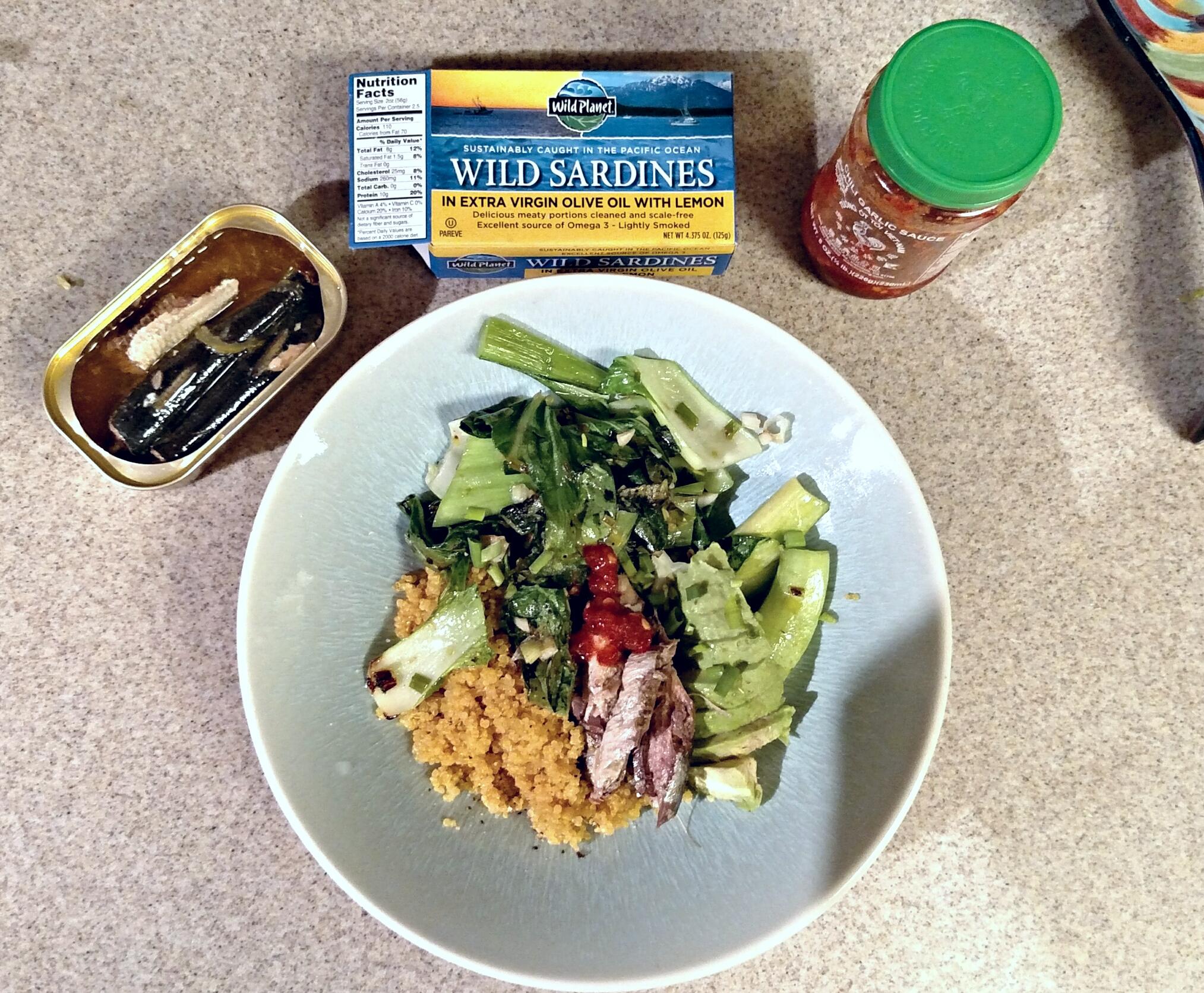 turmeric quinoa, sauteed bok choy, sardines and avocado with garlic chili paste.