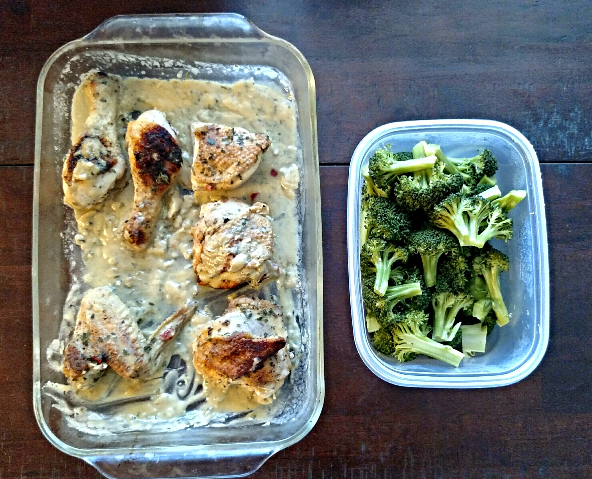 pan fried then oven roasted whole chicken with easy herb gravy & Steamed broccoli.