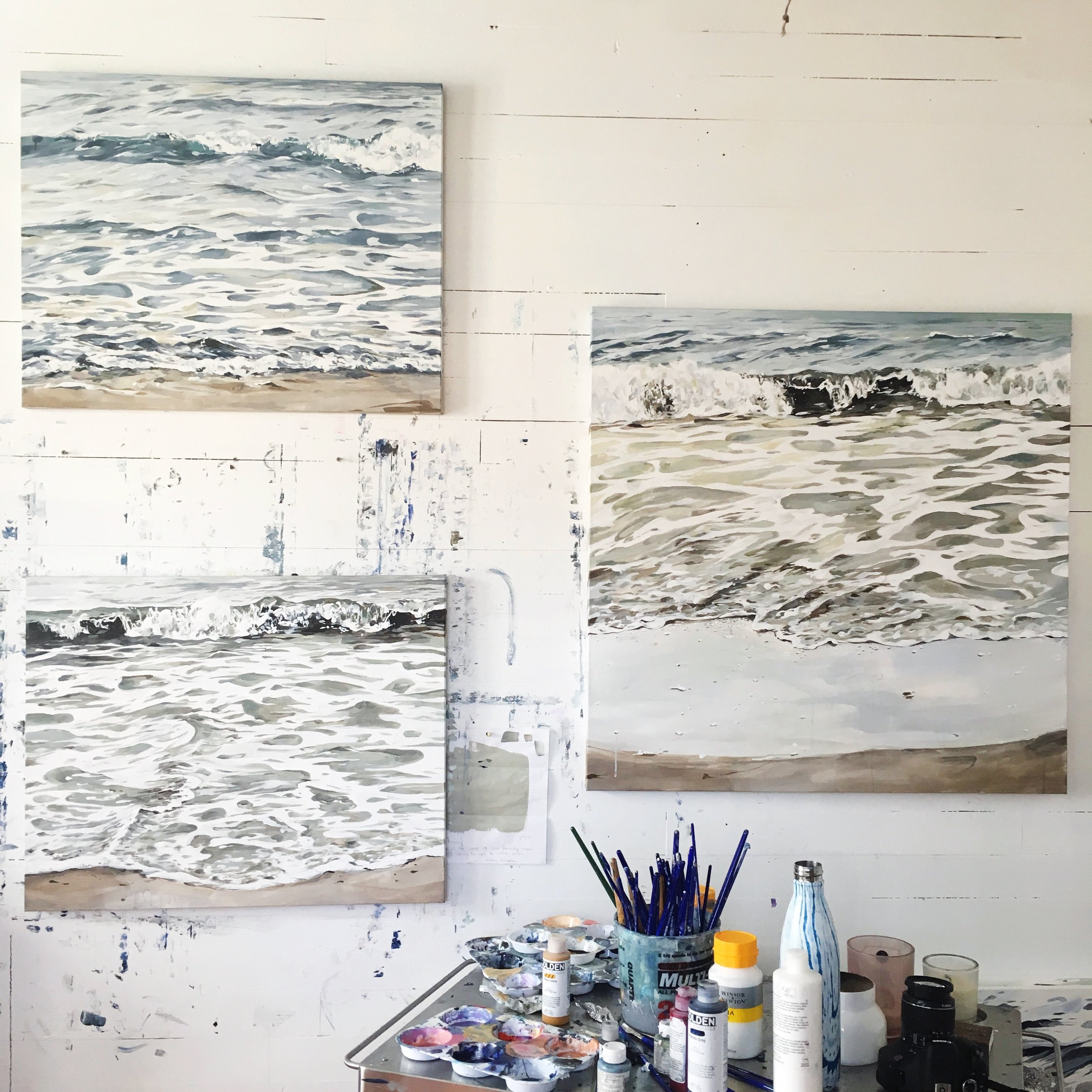 """Grouping of shoreline pieces- Left are each 24x30"""" and right is 36x36"""" acrylic on canvas"""