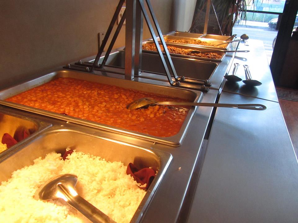 Part of the buffet during the fundraising dinner at Arya Bhavan for Wild Earth Sanctuary.