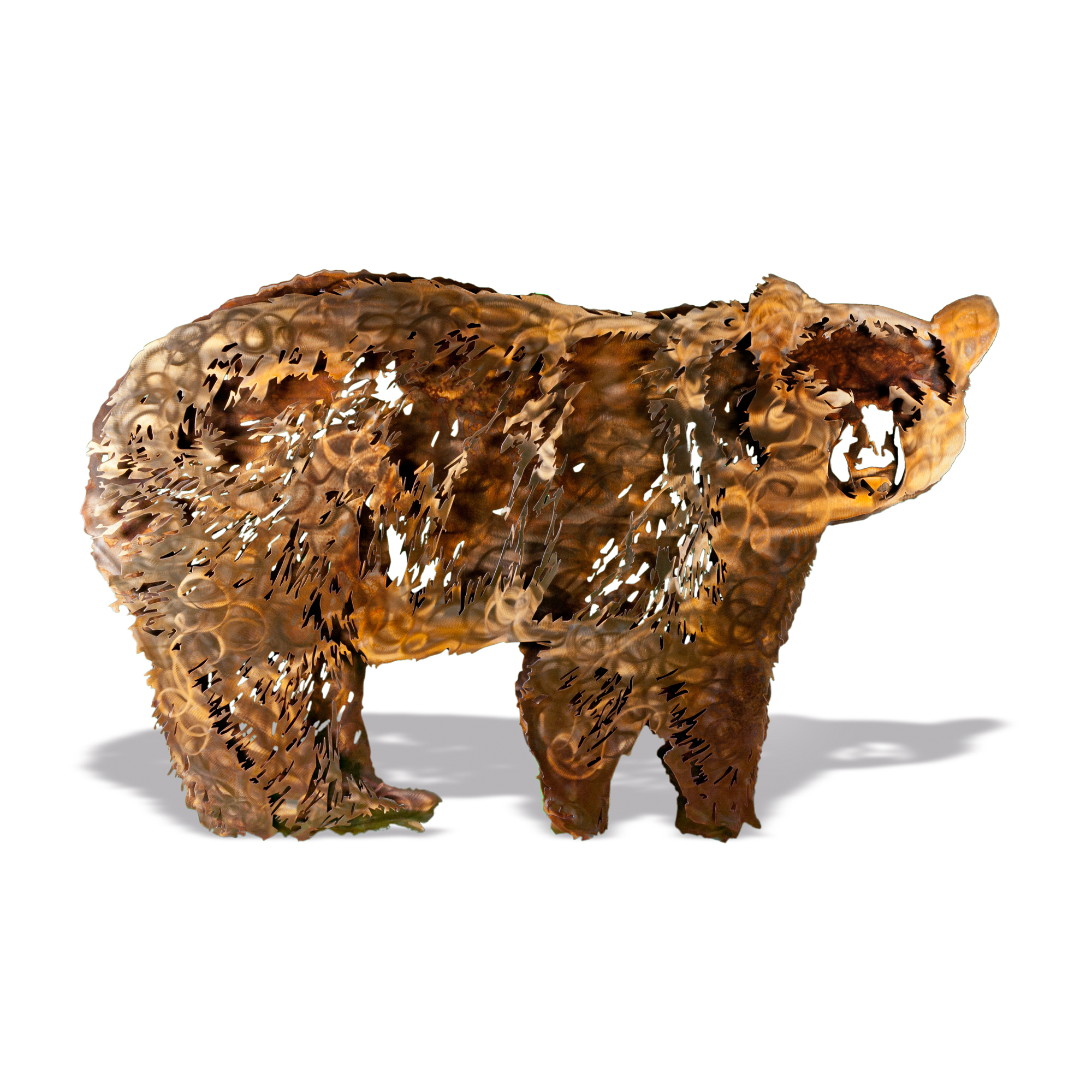 Adult Black Bear - Contemporary Large Stake Metal Artwork with Brown Patina Finish Form
