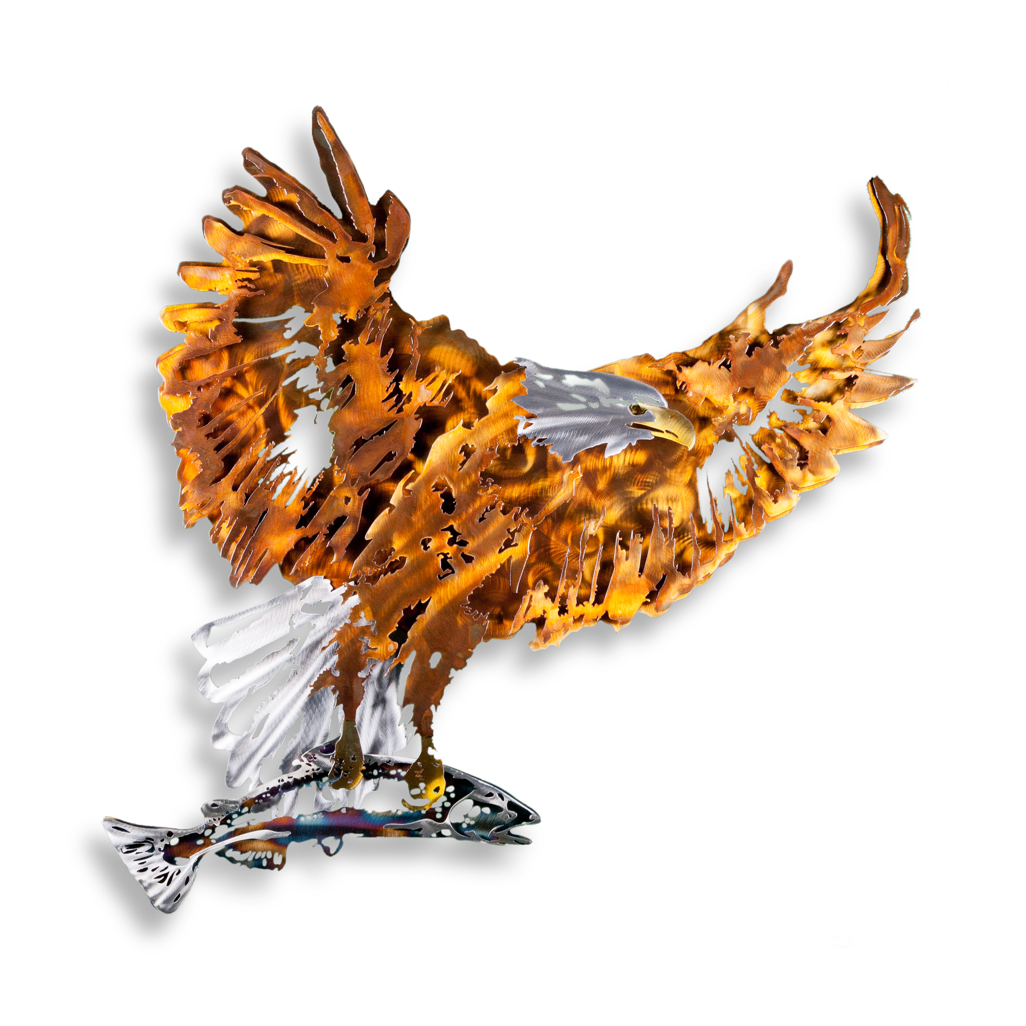 WilStl-051.jpgBald Eagle with Salmon - Elegant Contemporary Multicolored Metal Art for the Home Form