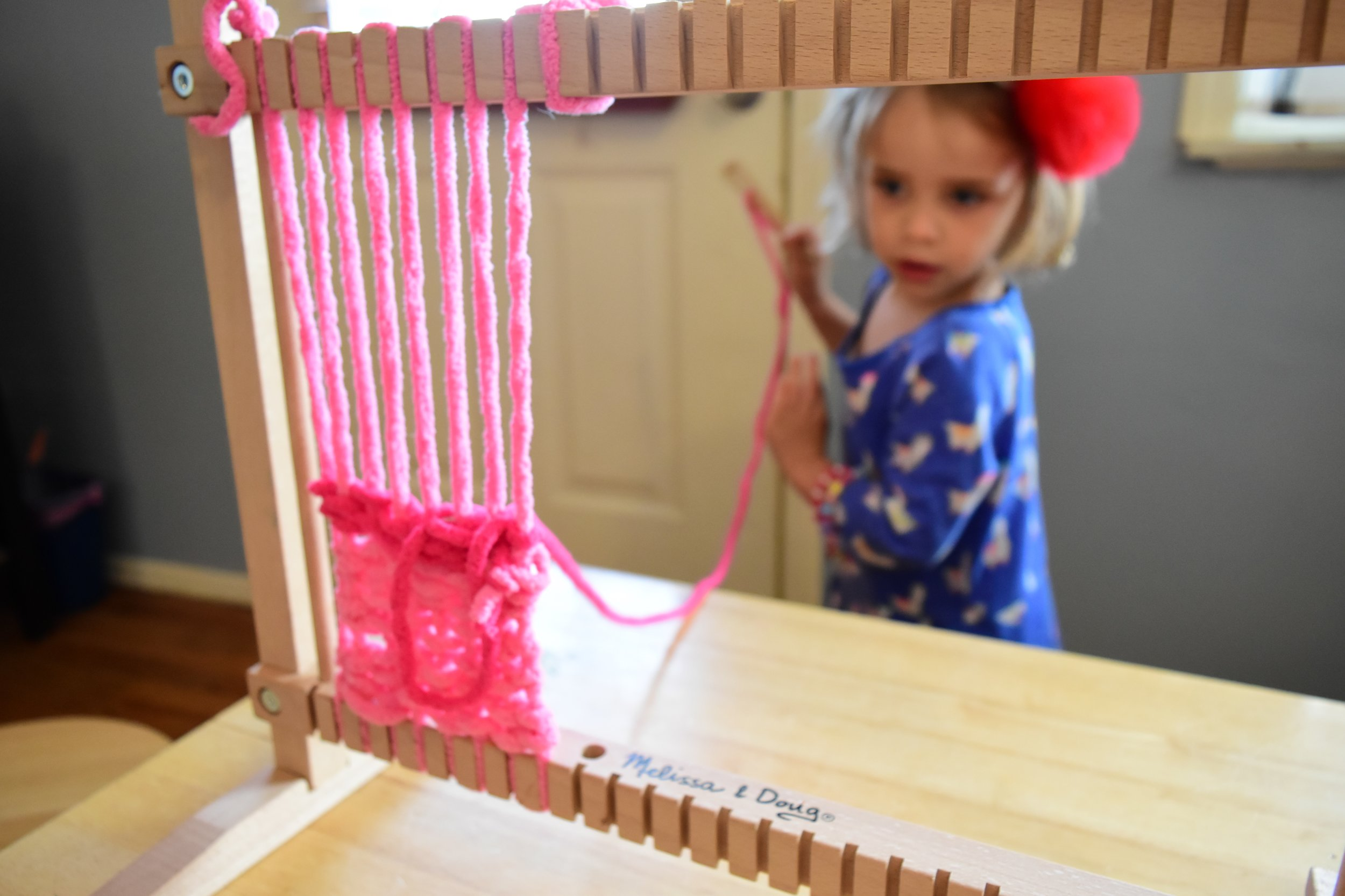 child weaving