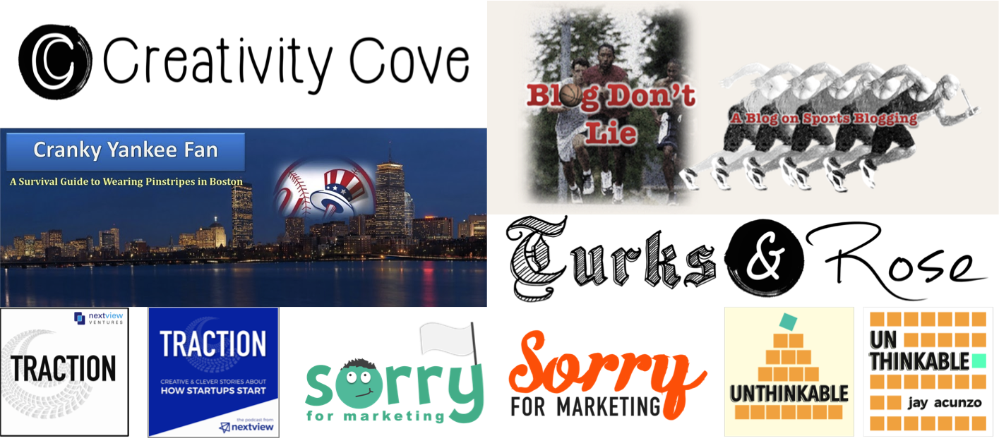 Some hacked together logos for blogs, podcasts, newsletters, etc.—most of which won't see the light of day again.