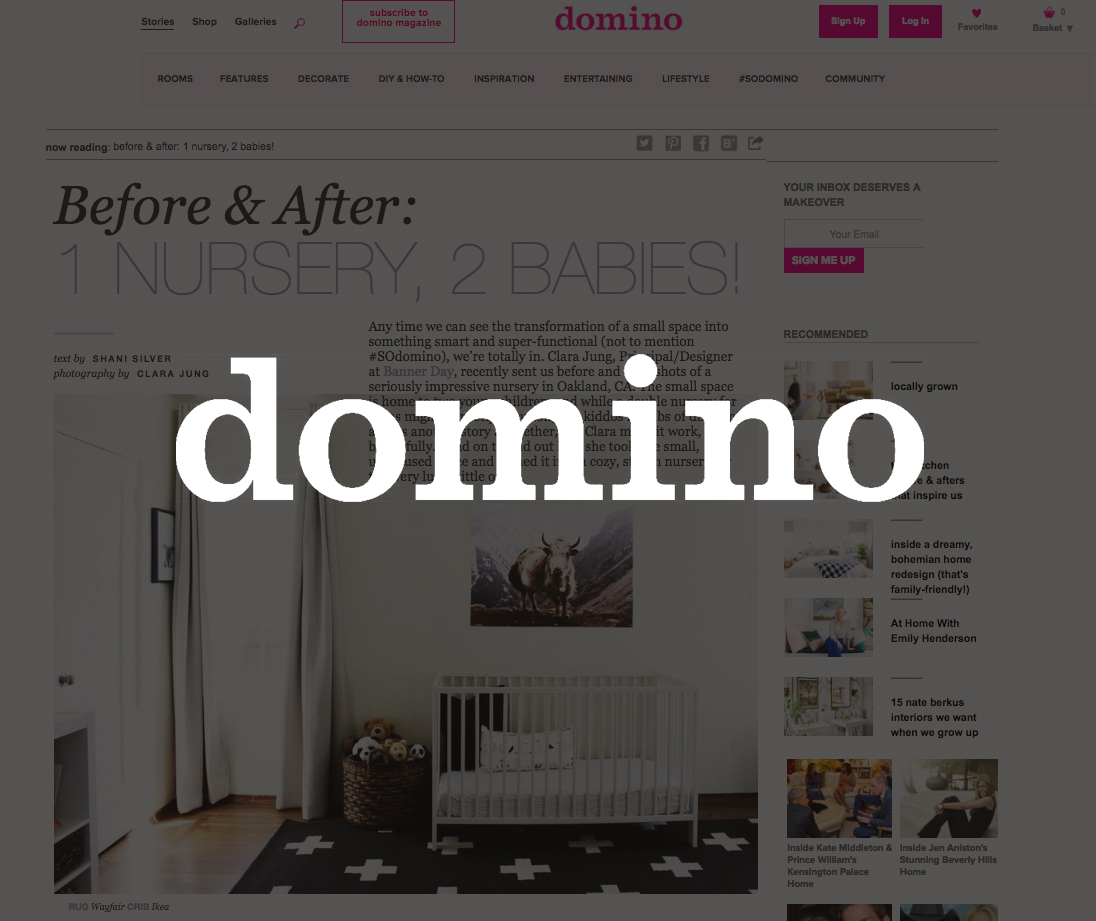 Domino Magazine, May 2016   Before & After: 1 Nursery, 2 Babies!