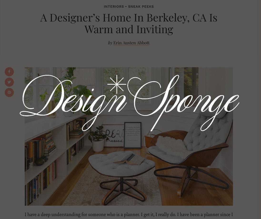 Design Sponge, December 2017   A Designer's Home In Berkeley, CA Is Warm and Inviting