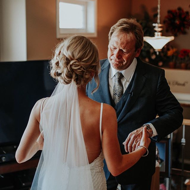 One of my favourite pictures, ever ❤️ Being a wedding photographer is a really special job. We get to share and experience some of the most intimate, vulnerable moments with our clients that go unseen by most.  I always feel so much gratitude for the trust my clients have in me. This trust allows me to be there for moments like this!  Kalie and her dad reminded me so much of my dad and I (swipe right to see us, photo by @jennifermoher ), on my wedding day ❤️ By far, the best, most special part of my job!