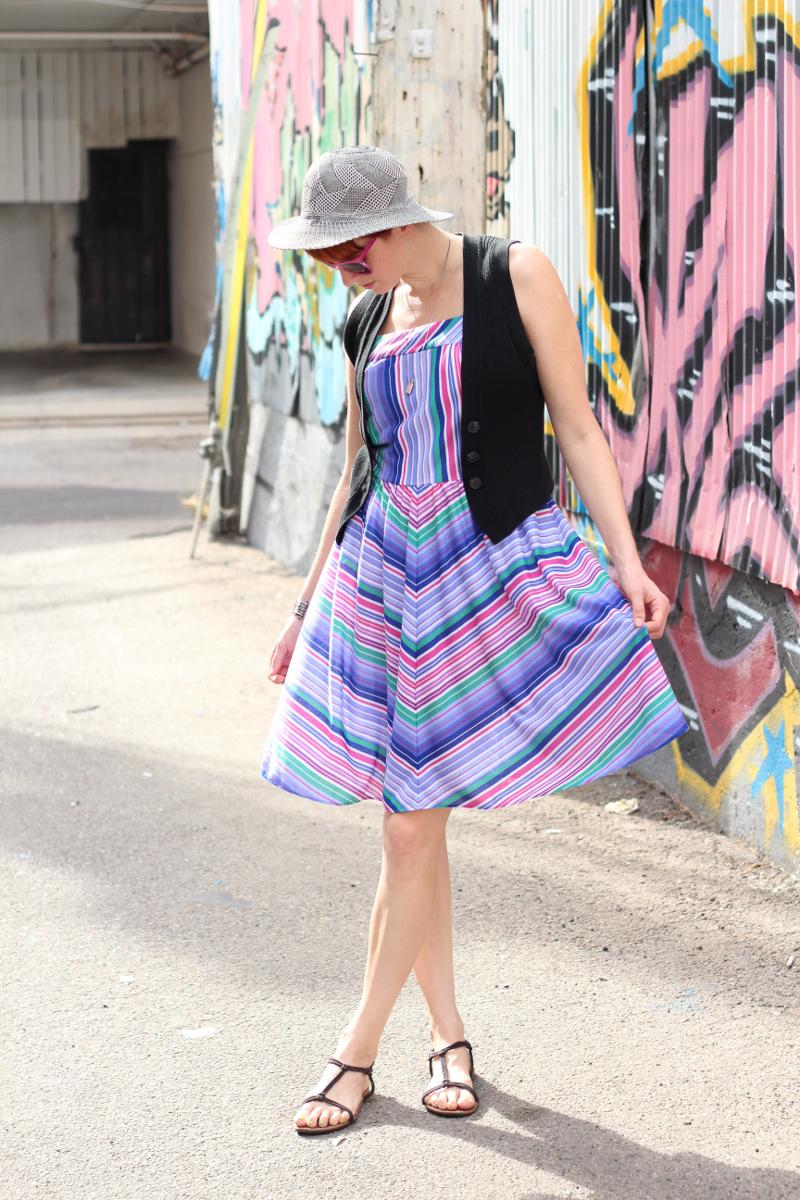 vintage 70s chevron striped dress_1.jpg