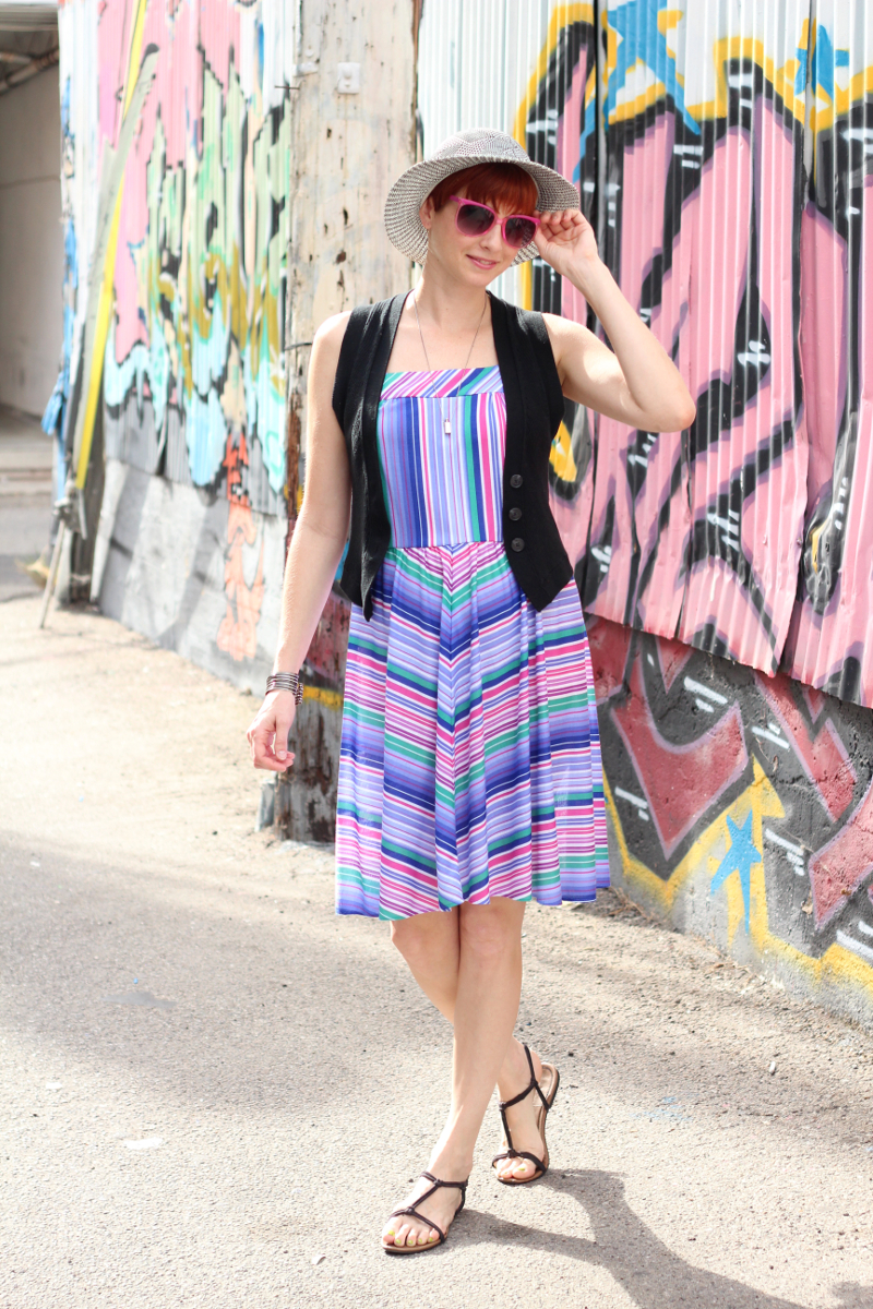 vintage 70s chevron striped dress_2.jpg