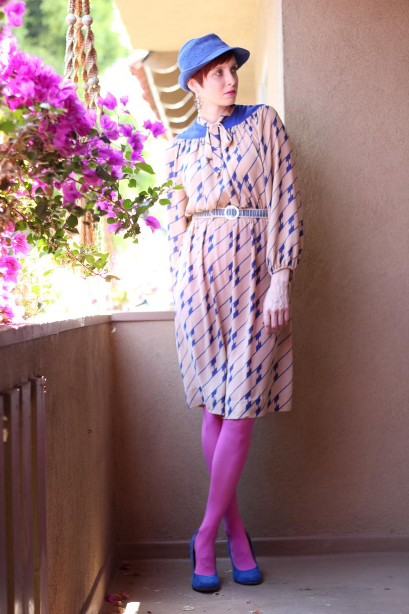 cobalt blue print secretary dress_1.jpg
