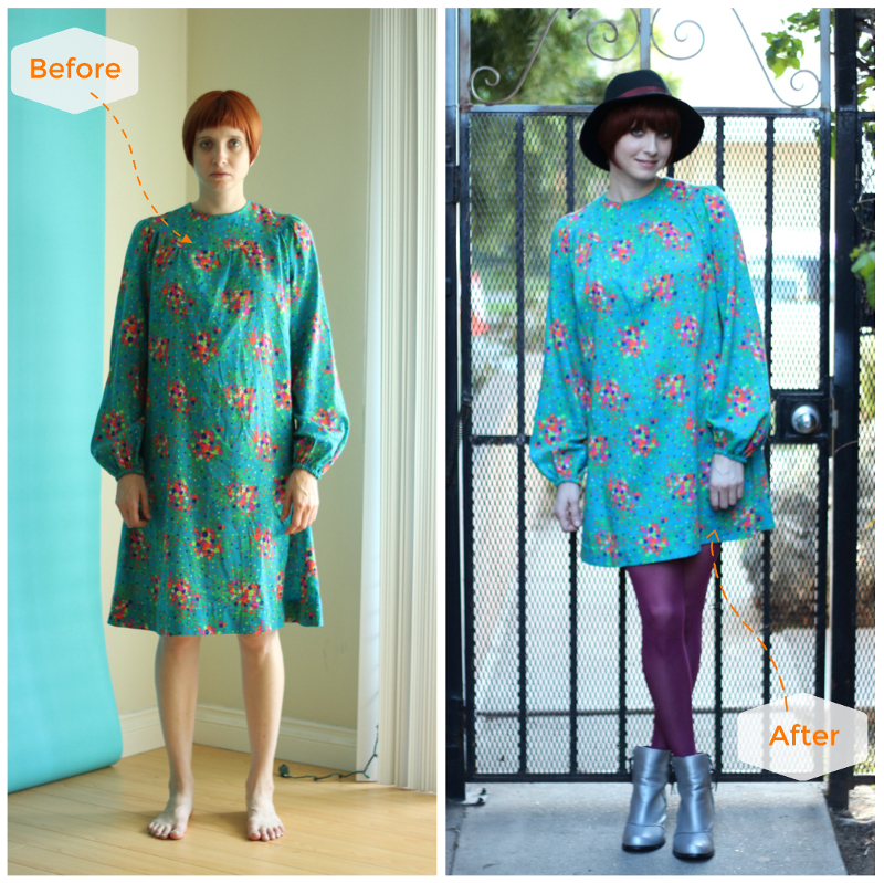 teal floral dress silver boots_b4after.jpg