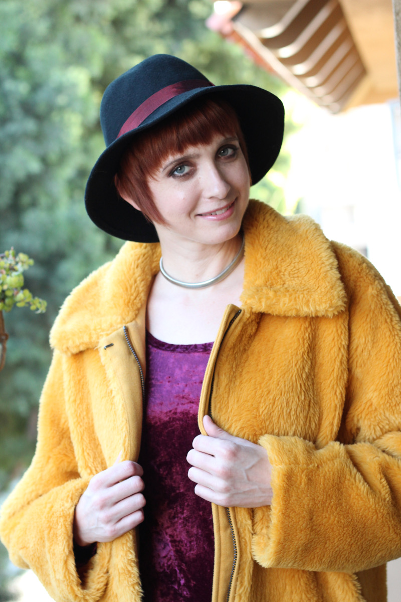 purple velvet dress yellow furry jacket_5.jpg