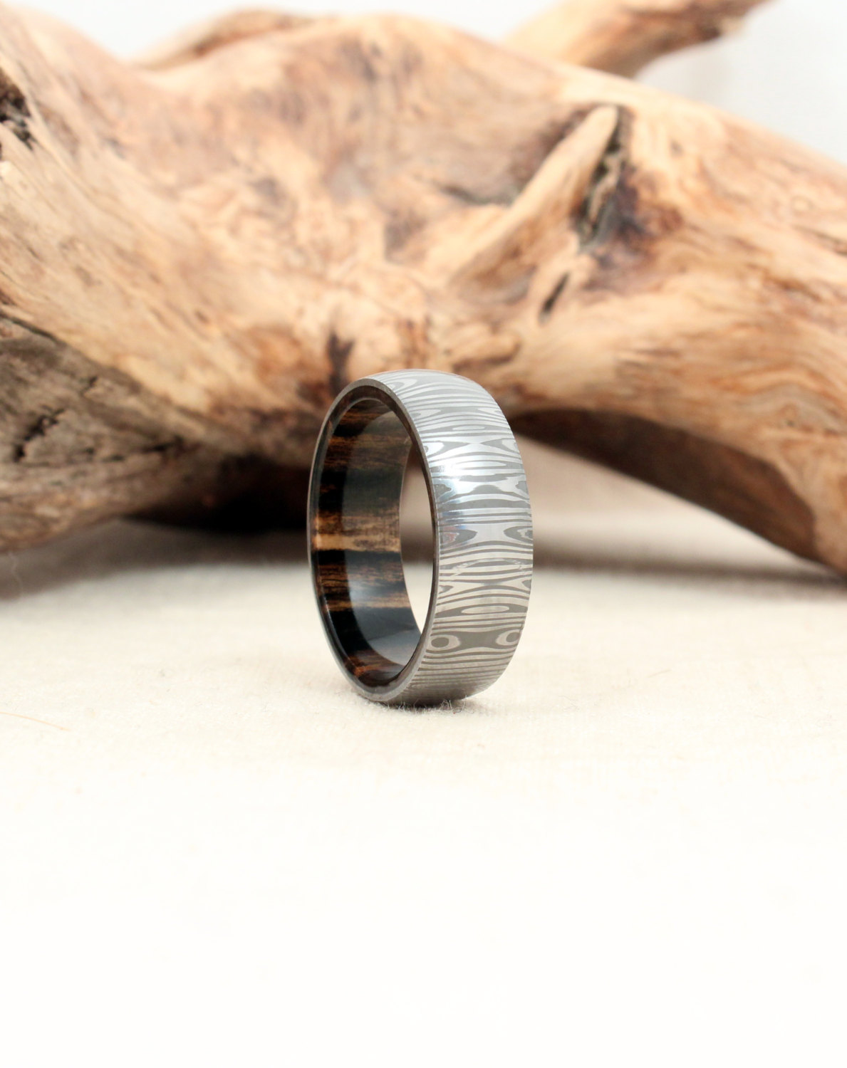 Damascus Steel and Black and White Ebony Wooden Ring