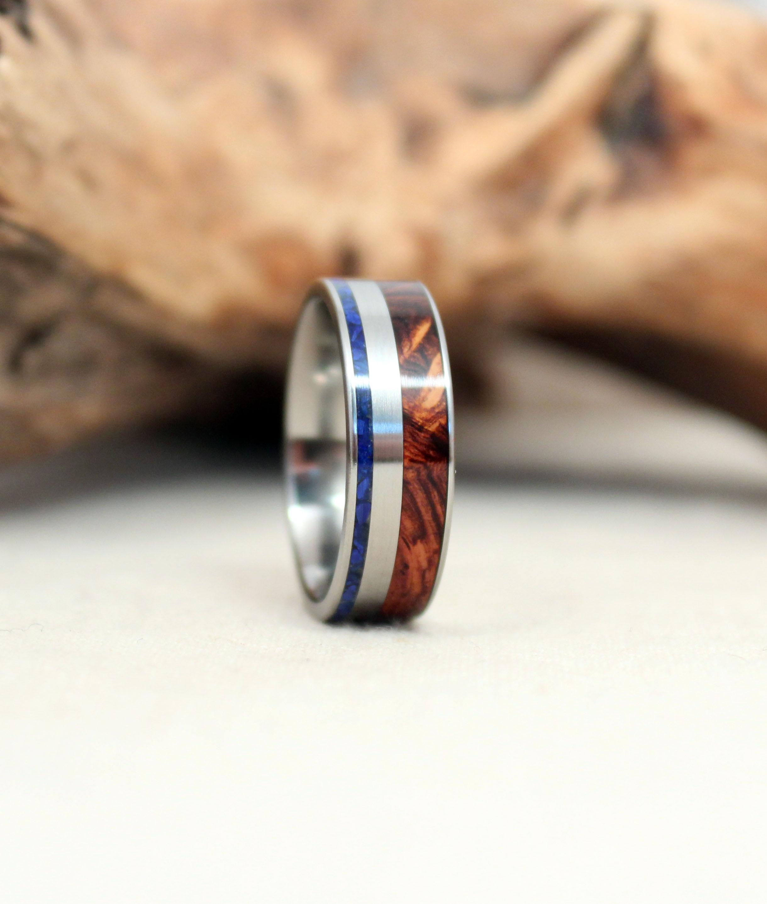 Honduras Rosewood Burl and Lapis Lazuli Deconstructed Titanium and Wood Ring