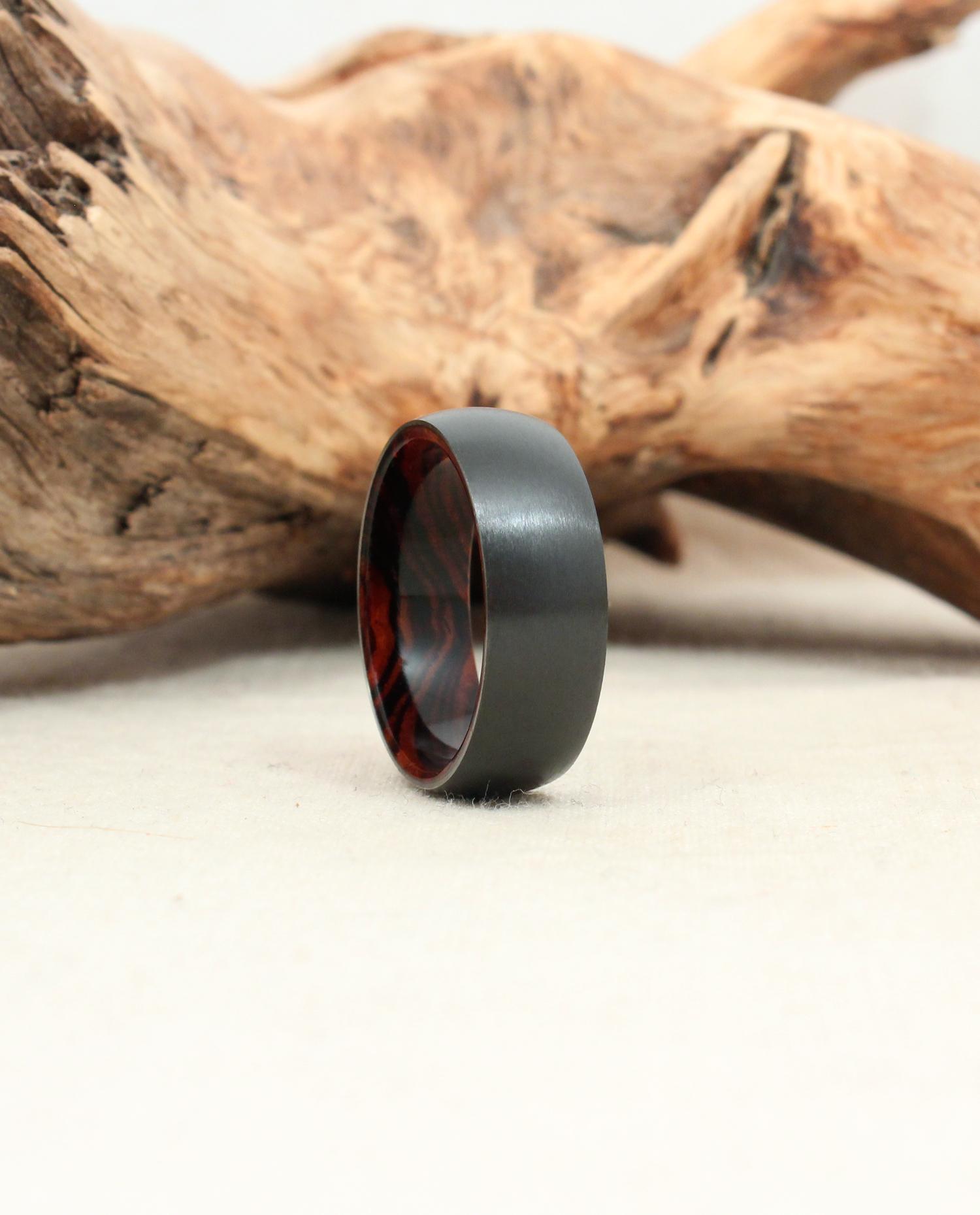 Black Zirconium and Cocobolo Wood Ring