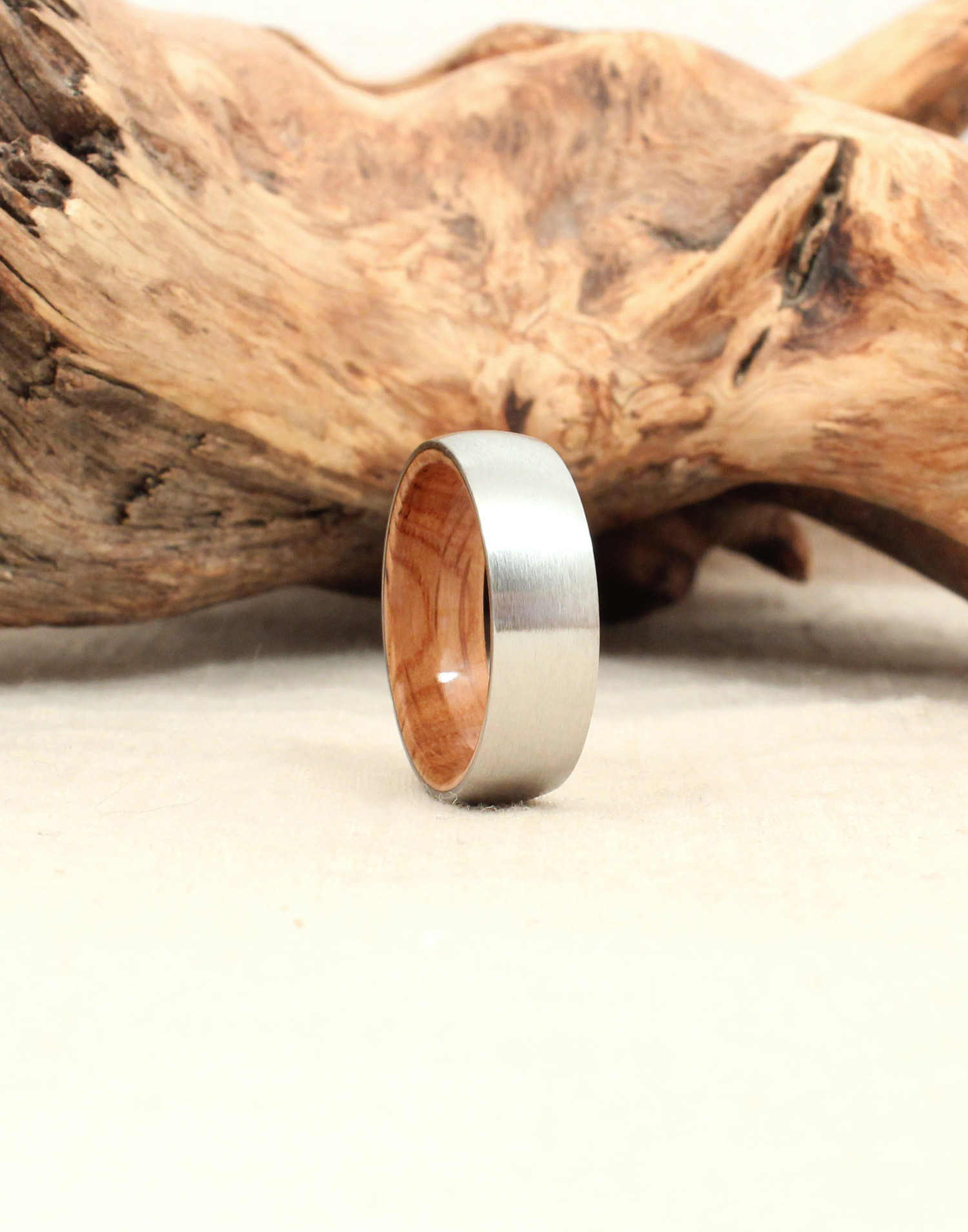 Cobalt Wood Ring Lined with Jack Daniels Whiskey White Oak Barrel