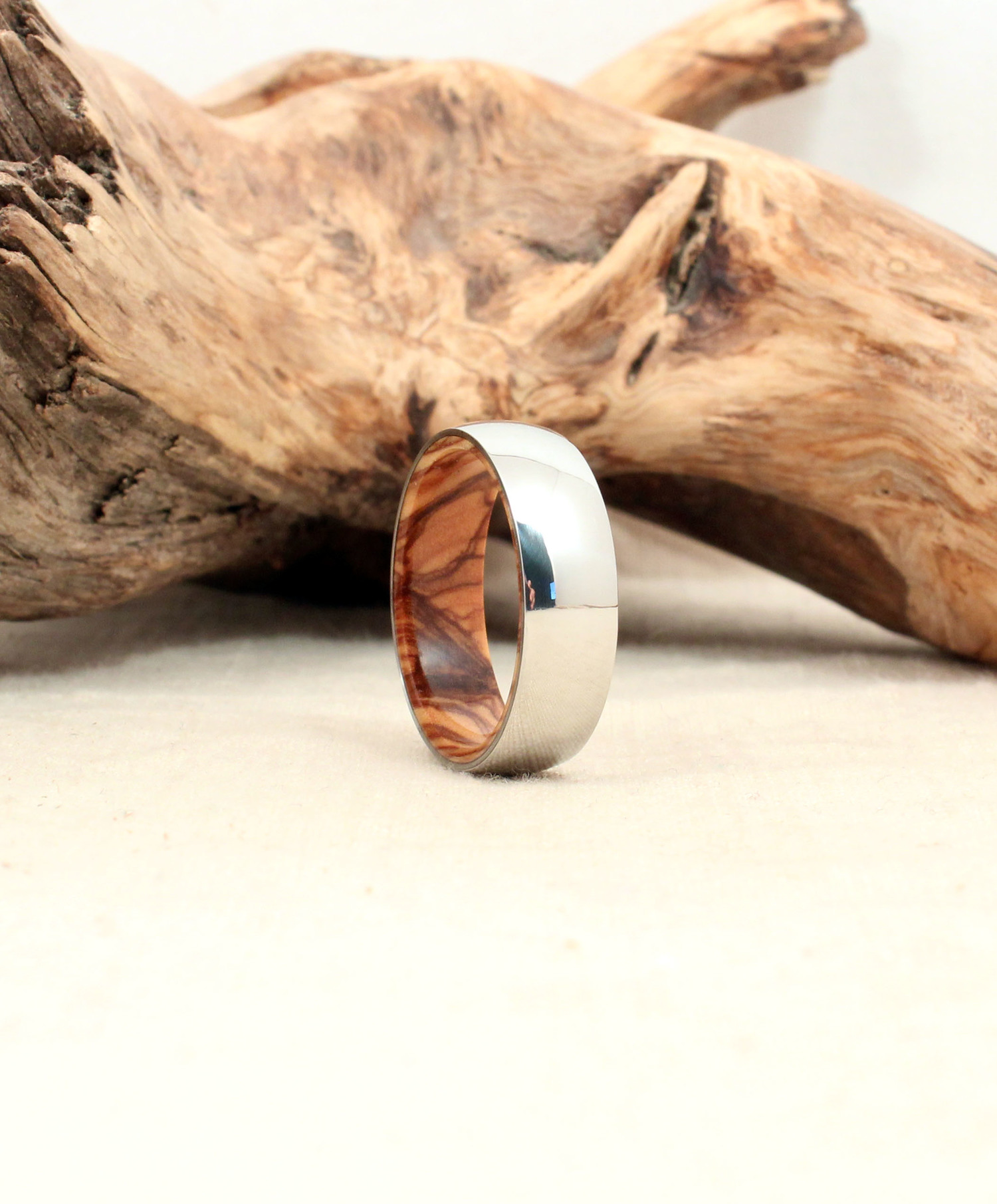 Cobalt Wooden Ring Lined with Bethlehem Olivewood