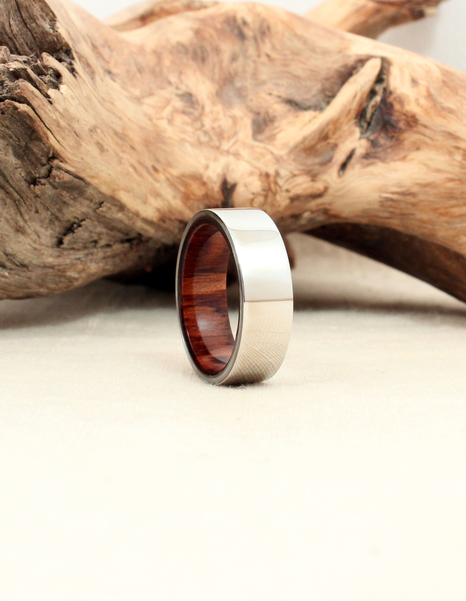 Cobalt Wood Ring Lined with Snakewood