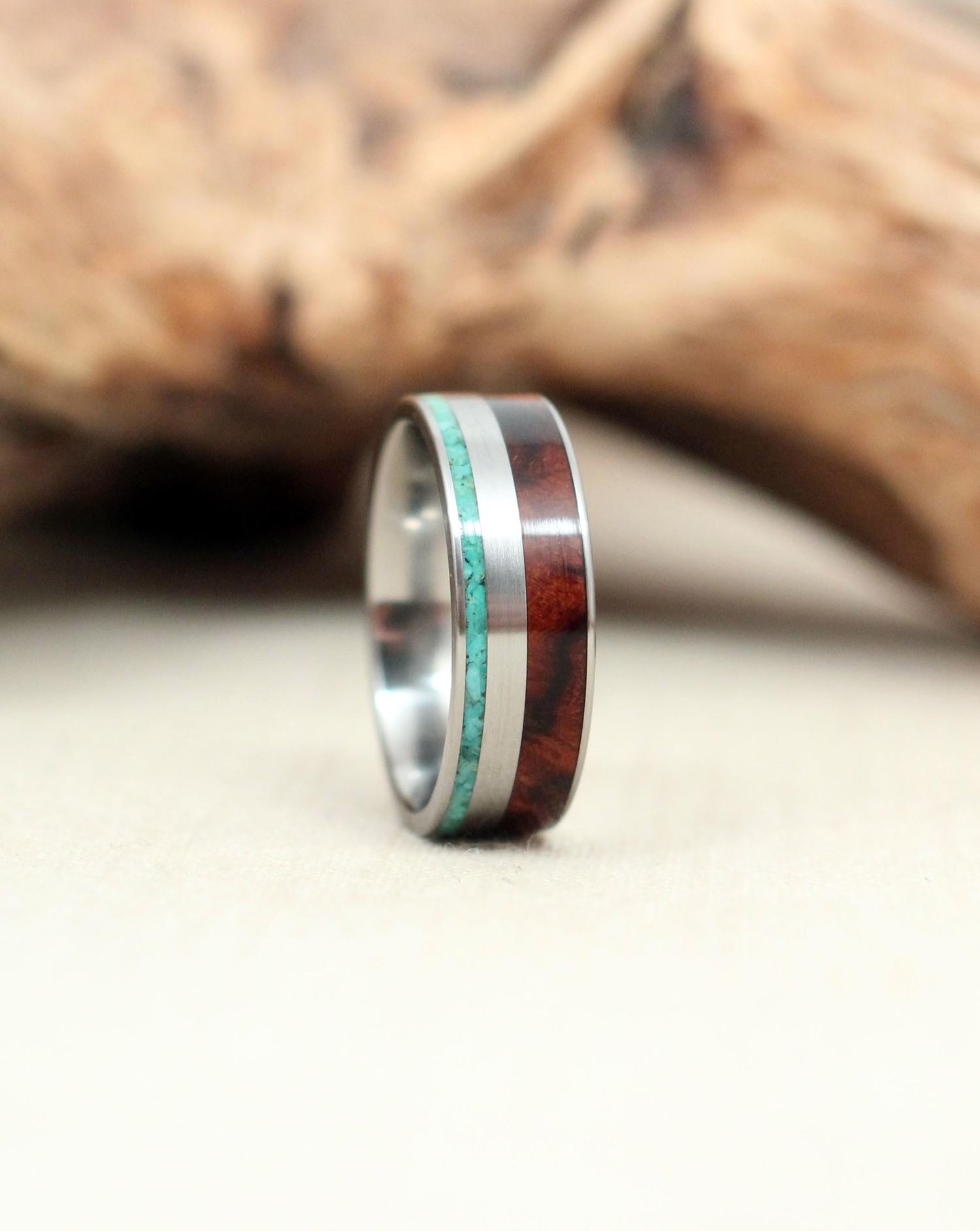 Arizona Desert Ironwood Burl and Turquoise Wood Ring